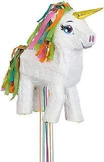UNIQUE PARTY White Unicorn Pull Pinata (17 x 13in) (White)