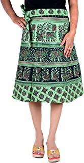 Womens Clothing Rapron Cotton Wrap Around Ethnic Skirt Women Gypsy Dress Green