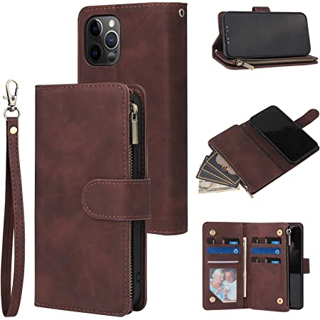 RANYOK Wallet Case Compatible with iPhone 12 Pro Max (6.7 inch), Premium PU Leather Zipper Flip Folio Wallet with Wrist Strap Magnetic Closure Built-in Kickstand Protective Case - Coffee