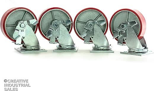 ✅6″ x 2″ Swivel Casters Polyurethane on Steel Wheel w/ Brake 1200lb each (4) Tool Box #Tools & Home Improvement Hardware