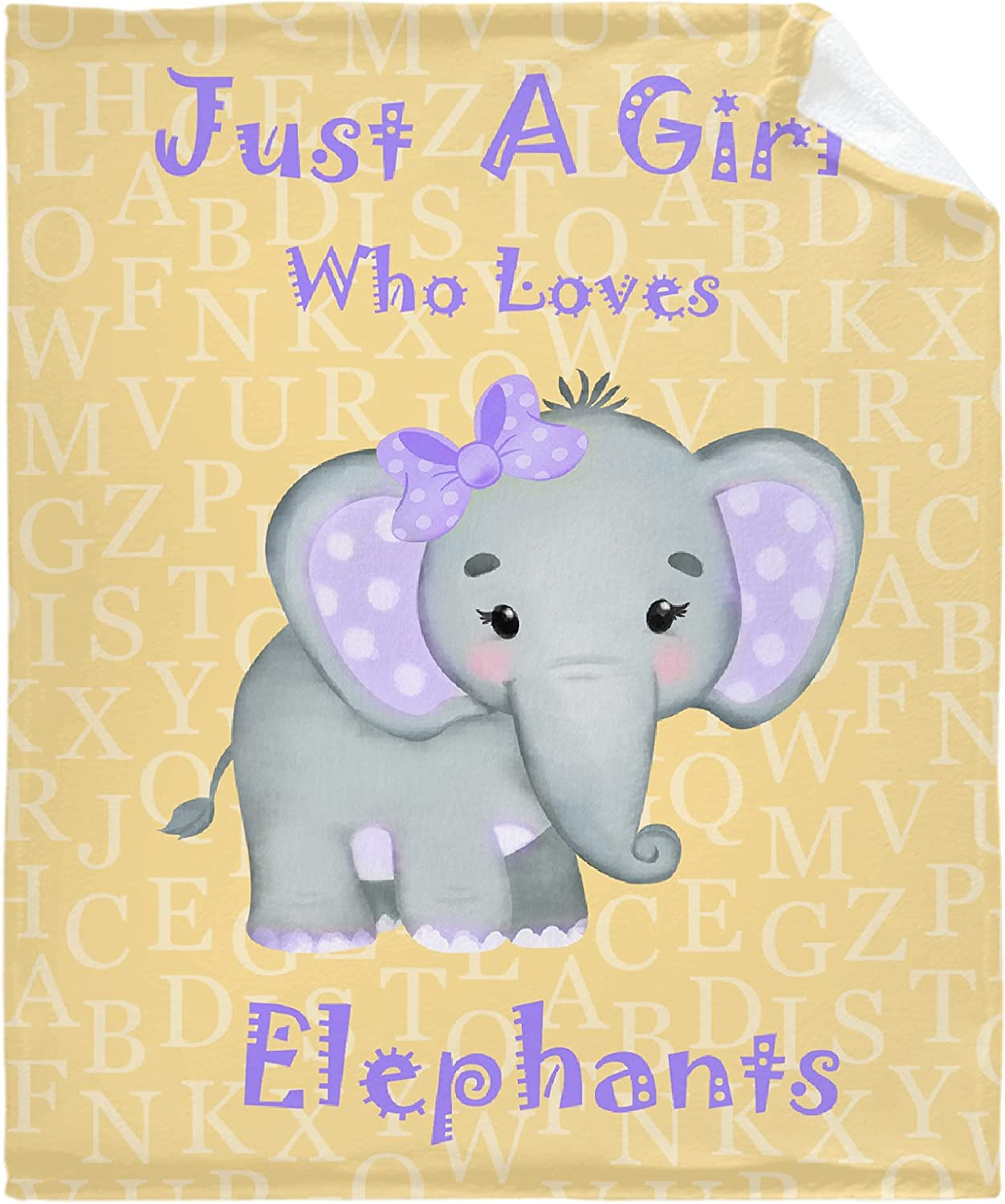 Just A service Girl Luxury Who Loves Elephants Lightw Yellow Blanket Soft Throw