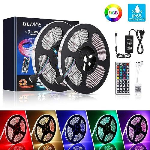 [2 Pack] GLIME Bande LED 2×5M Ruban LED 5050 RGB IP65 6 Modes 20 Couleurs Bande de LED avec Télécommande pour Chambre, Mariage, Restaurants, Bars, Jardins, Festivals, Événements, etc.