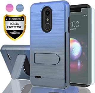 AYMECL LG K10 2018 Phone Case,LG K30 Case,LG K10+ 2018 Case with HD Screen Protector,[Card Slots Holder] Plastic TPU Hybrid Gradient Color Dual Layer Shockproof Case for K10 2018-GC Blue&Cyan