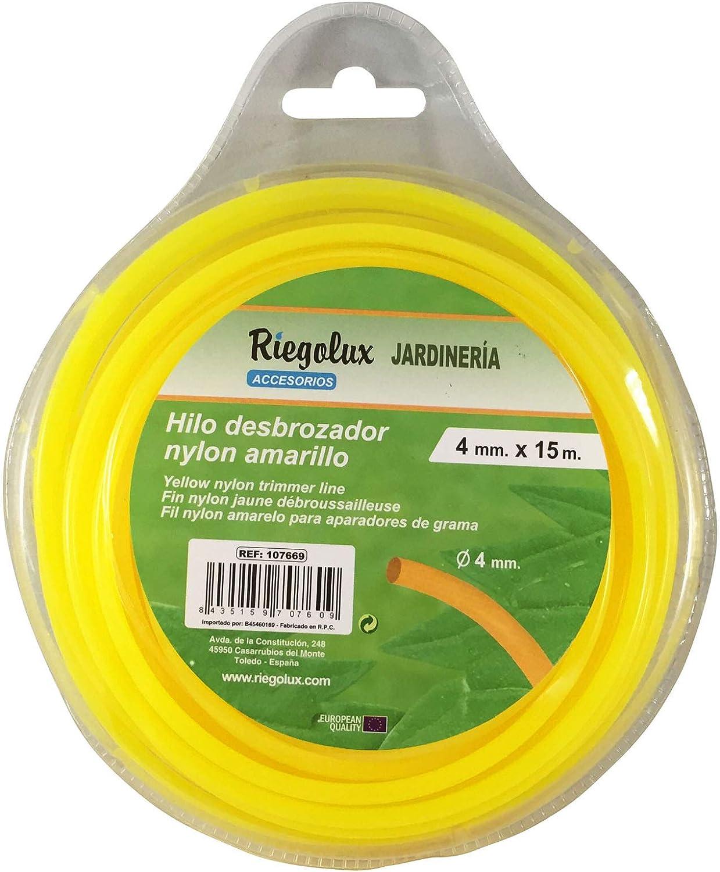 Riegolux 107669 Hilo Desbrozadora Nylon Redonda, Amarillo, 4 mm x 15 m