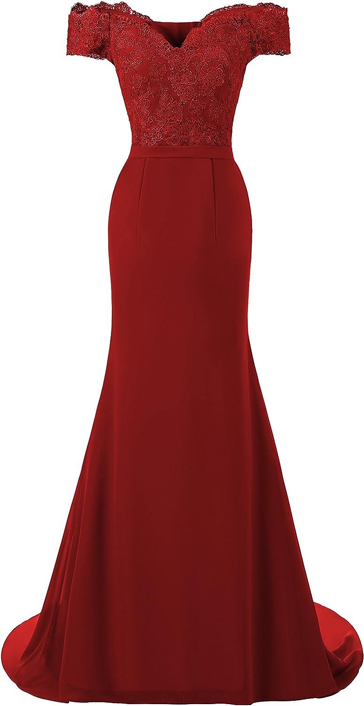 Graceprom Elegant Royal bluee Prom Dress Off The Shoulder Long Bridesmaid Dress