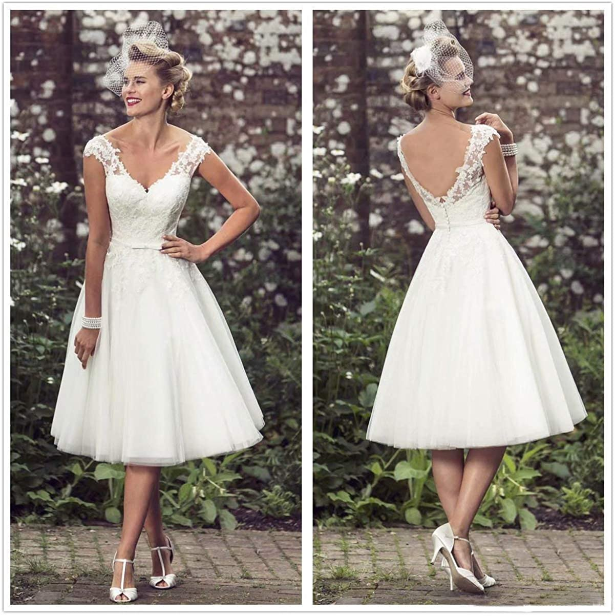 Princess Women's Vintage 20's Short Lace Wedding Dresses V Neck ...