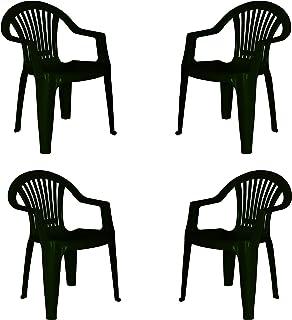 KG KitGarden - Pack de 4 Sillas Apilables Resina, Verde, Braga