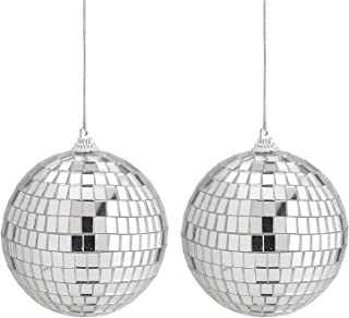 Kicko Mirror Disco Ball 2 Pack - 4-Inch Cool and Fun Silver Hanging Party Disco Ball - Party decorations, Party Design, Dance and Music festivals