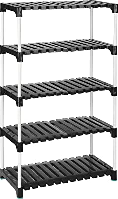 Amazon Brand - Solimo Multipurpose Rack for Shoes and Clothes, 5 Racks, Black