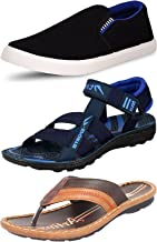 ETHICS Perfect Combo Pack of 3 Casual Footwear for Men's (7 UK, Blue Blue Brown)