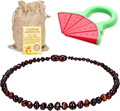 Baby Baltic Amber Teething Necklace Jewelry - (Cherry) Anti-Flammatory, Drooling Reduce - Reduces Tension and Fear, Teething Necklace For 3 to 36 Months Babies,Boys and Girls…