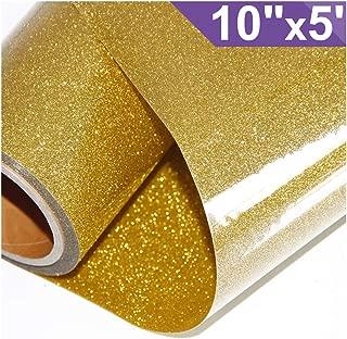 ARHIKY Glitter Heat Transfer Vinyl HTV for T-Shirts 10Inches by 5 Feet Rolls(Gold)