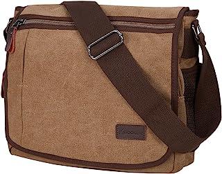 Modoker Laptop Messenger Bag for Men, Canvas Crossbody Bag Fits Most 13 inches Computer, Vintage School Bag