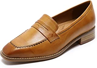 Mona flying Womens Leather Penny Loafer Casual Flat Shoes for Women Ladies Girls