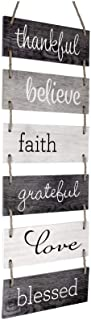 Excello Global Products Large Hanging Wall Sign: Rustic Wooden Decor (Grateful, Love, Believe, Thankful, Faith, Blessed) H...