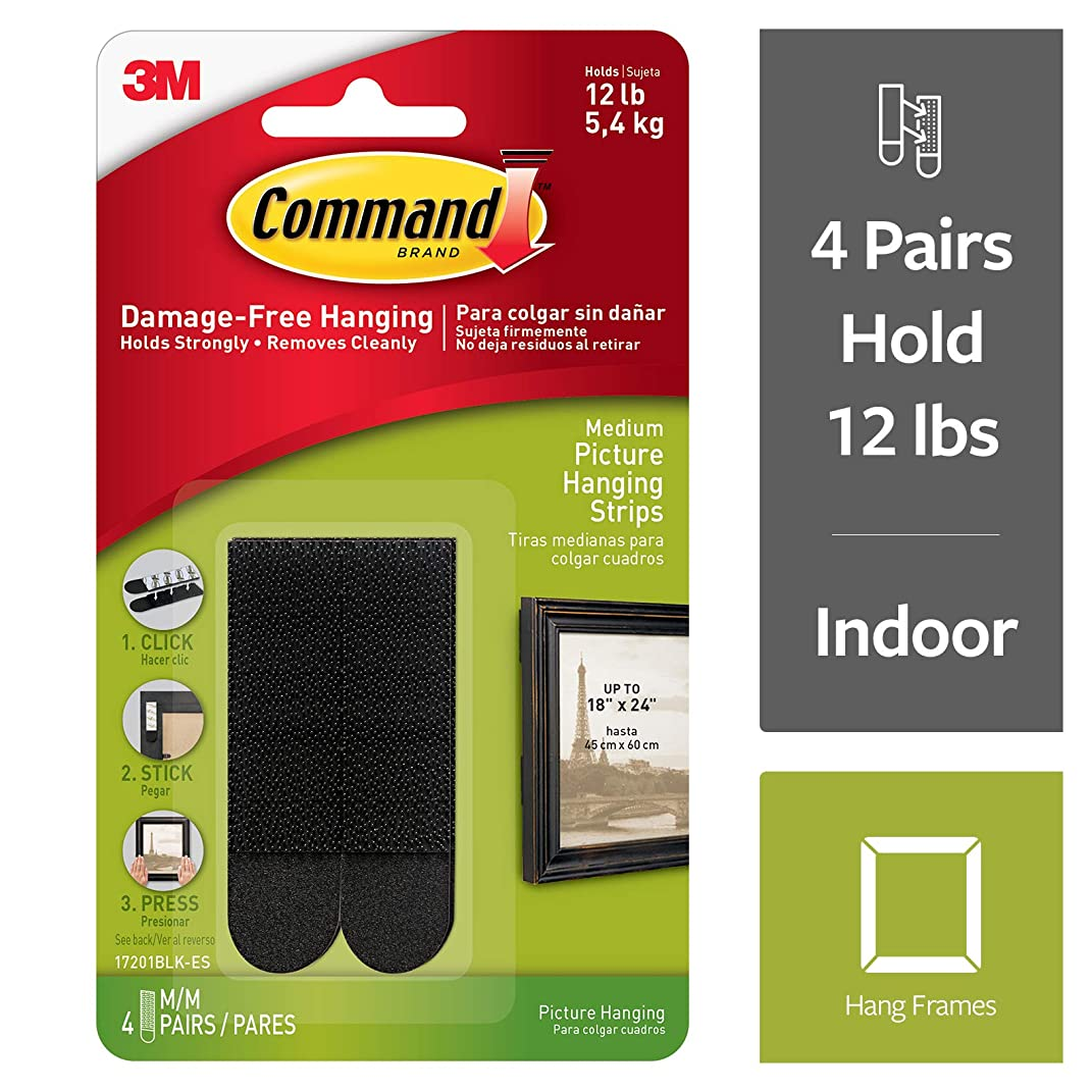 Command Picture Hanging Strips, Medium, Black, 4-Pairs (17201BLK-ES)