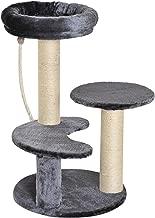 Pawhut 65 cm Cat Tree Kitty Scratcher Kitten Activity Center Scratching Post Playhouse 2 Perch w/Hanging Sisal Rope Grey