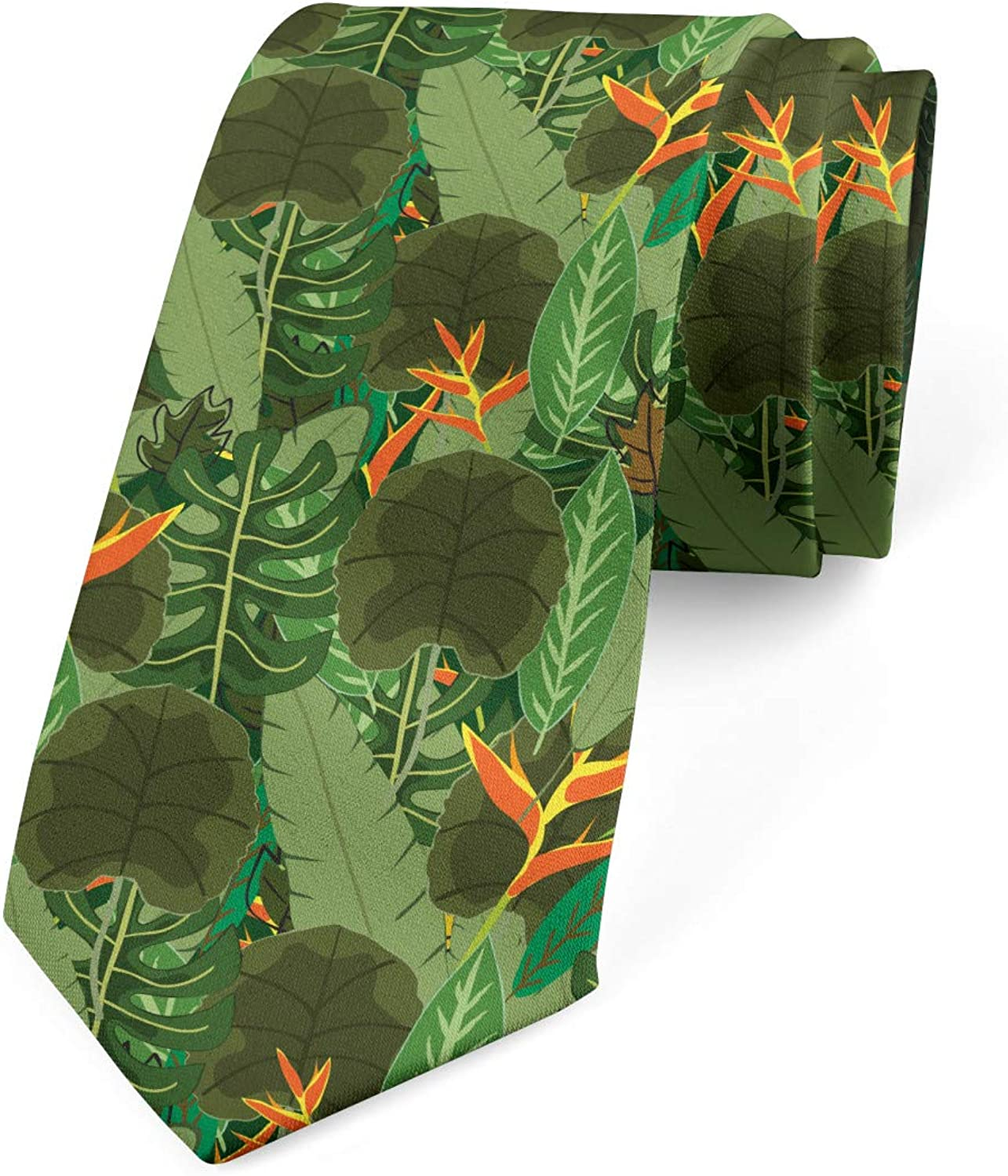 Ambesonne Botanical Necktie, Print of Tropical Green Leaves in Jungle Exotic Forest and Foliage, 3.7