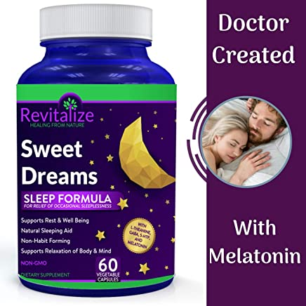 Melatonin Sleep Supplement with GABA, 5-HTP, L-Theanine - Sweet Dreams