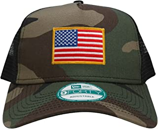 9FORTY 5 Panel USA Flag Patch Snapback Trucker Cap - CAMO