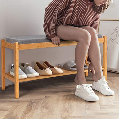 Giantex Shoe Bench, Bamboo Shoe Rack Bench with Cushion, Modern Padded Bench Seat, Wood Shoe Rack for Entryway Bedroom Living Room Hallway Garage (Natural)