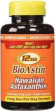 BioAstin Hawaiian Astaxanthin 12mg, 120ct - Supports Recovery from Exercise + Joint, Skin, Eye Health Naturally - 100% Hawaiian Sourced Premium Antioxidant kkj