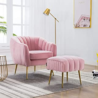 Altrobene Modern Accent Club Chair Ottoman Set, Velvet Upholstered, Curved Tufted, Gold Finished Metal Legs for Living Room Bedroom, Pink
