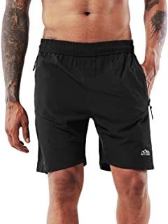 YAWHO Men's Workout Running Shorts Sports Fitness Gym Training Quick Dry Athletic Performance Shorts with Zip Pockets