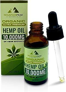 Hemp Oil Drops 10,000mg, Anti-Anxiety, Anti-Stress, Natural Sleep Aid, Inflammation, Organic Hemp Extract, Rich in Omega 3...