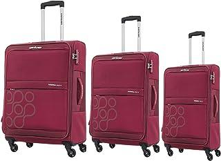 حقائب سفر فيندا من كاميليانت باي امريكان توريستر، دوّارة بجوانب طرية، مجموعة من 3 قطع، مع قفل تي اس ايه - لون احمر