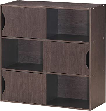 COSTWAY Bibliothèque de Rangement avec 3 Portes 6 Compartiments, Etagère en MDF 78 x 30 x 78 CM de Style Scandinave Moderne p