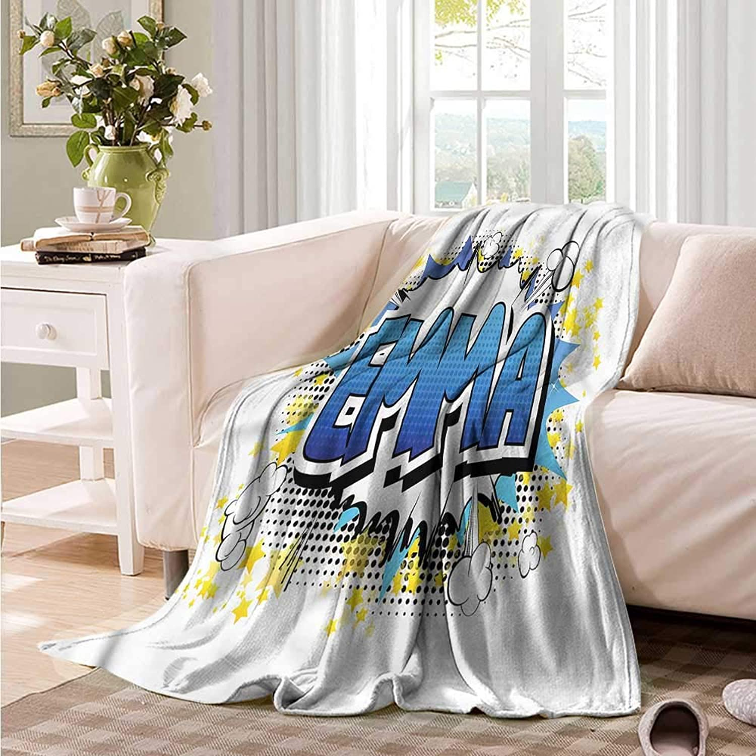 Oncegod Super Soft Blanket Emma Youthful Teen Comic Book Camping Throw,Office wrap 60  W x 51  L