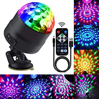 Disco Ball Party Lights Portable Rotating Lights Sound Activated LED Strobe Light 7 Color with Remote and USB plug in for Car Home Room Parties Kids Birthday Dance Wedding Show (RGBP 7 mode) (Renewed)