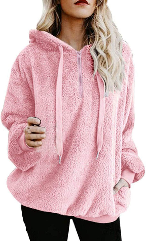 Women Fleece Hoodies 2021 Long Sleeve Hooded Pullover Sweatshirt Autumn Winter Warm Zipper Pocket Fur Coat Plus Size