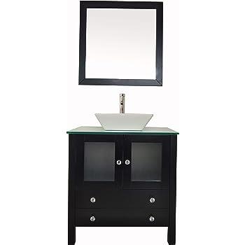 """30"""" Freestanding Wooden Modern Bathroom Vanity Ceramic Sink Vessel Set Bathroom Mirror Included (30"""", Black)"""