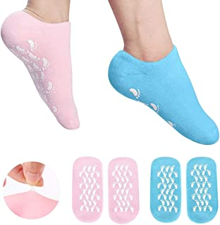 EXPER Gel Moisturizing Socks for Cracked Dry Cuticles Skin Foot Care Spa Silicone Humectant Moisturizer Socks (Pink + Blue)