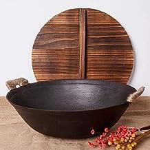 Huishoudelijke dubbele oor grote ijzeren koekenpan, gietijzeren wokpan Ouderwetse multifunctionele koekenpan met ronde bodem