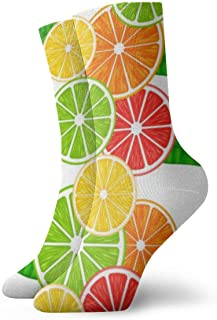 With Citrus Fruits Slices Cushion Athletic Work Crew Socks for Mens Womens