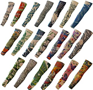 20PCS Set Arts  Temporary Tattoo Arm Sunscreen Sleeves - AKStore - Designs Tiger, Crown Heart, Skull, Tribal and Etc