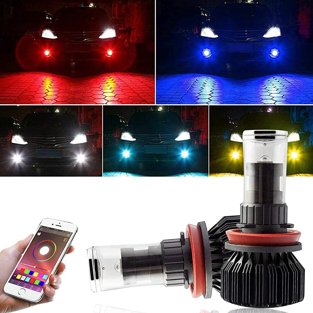 Xotic Tech Set Multi-Color WRGB Wireless Smart Phone Control H8 H9 H11 LED DRL Fog Light Bulb for Toyota Tacoma 2016-2019