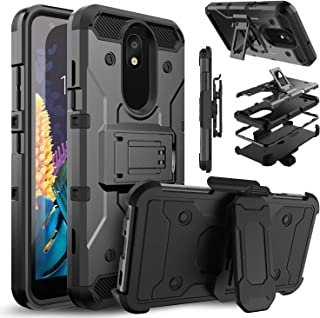 Venoro LG Aristo 4+ Plus Case, LG K30 2019 Case, Shockproof Protection Case Cover with Belt Swivel Clip and Kickstand for LG X2 2019/Escape Plus/Journey LTE/Arena 2/Prime 2 (Black)