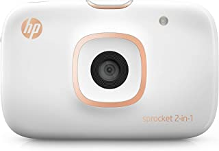 """HP Sprocket 2-in-1 Portable Photo Printer & Instant Camera, print social media photos on 2x3"""" sticky-backed paper (2FB96A) (Renewed)"""
