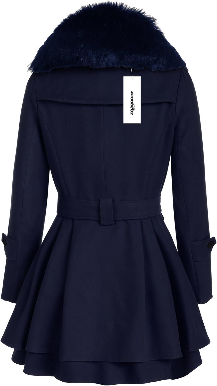 Zeagoo 2015 Frauen Schlank Zweireiher Trench Coat Lange Outwear Mantel Windbreaker marineblau