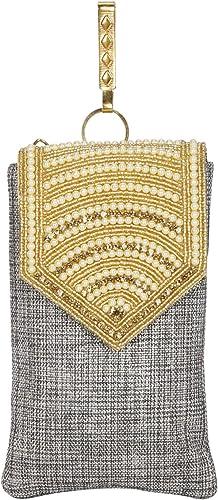 Pearl Clutch Silk Saree Clutch Mobile Pouch Waist Clip Ladies Purse Gift for Women Girls Grey
