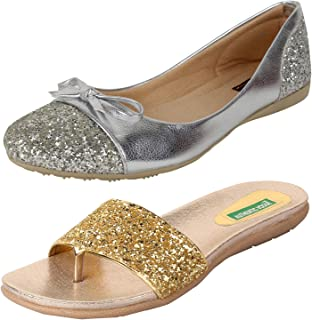 83dc03f58033b AUTHENTIC VOGUE Women's 2 Combo Pack of Belly Shoes & Fashion  Slipper-Silver ...
