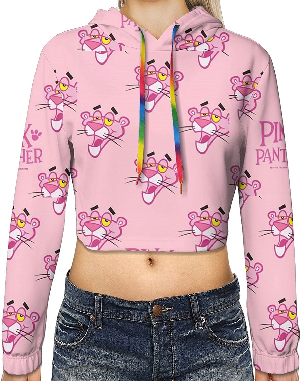Womens Teen Girls Deluxe Finally resale start Pink Panther 3d Crop Top Printed Fash Hoodies