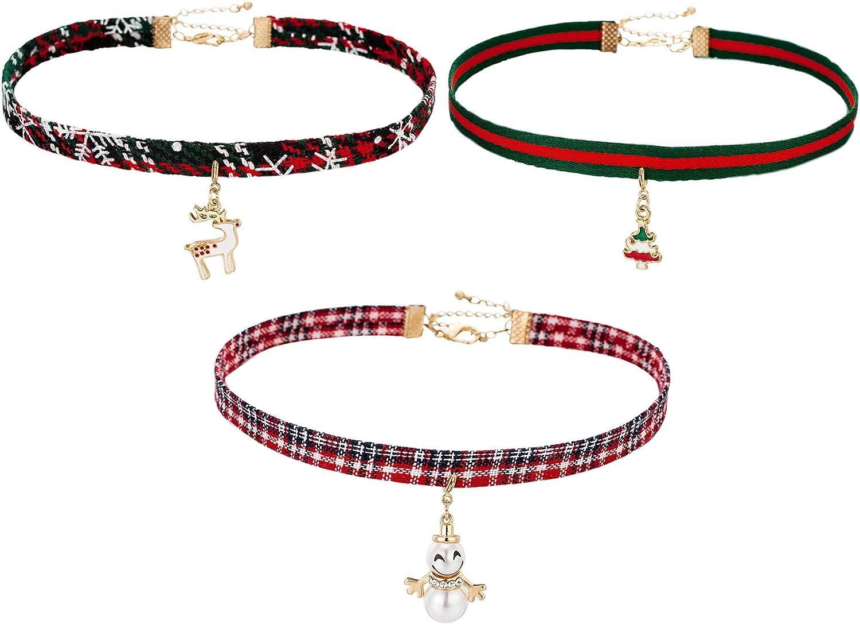 OFGOT7 3 Pcs Adjustable Classic Christmas Choker Necklace Sets Cotton Metal Pendant Making Chains Vintage Lolita Styles for Women Girls