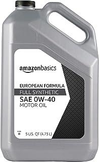AmazonBasics Full Synthetic Motor Oil, Euro Formula for Turbo-Charged Vehicles, API SN, A3/B4, 0W-40, 5 Quart