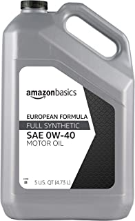 AmazonBasics Full Synthetic Motor Oil, Euro Formula for Turbo-Charged Vehicles, API SN, A3/B4, 0W-40, 5 Quart