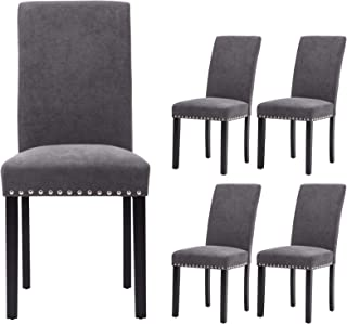 Sponsored Ad - Upholstered Dining Chairs Padded Parson Chair with Silver Nails and Solid Wood Legs Set of 4 (Gray)